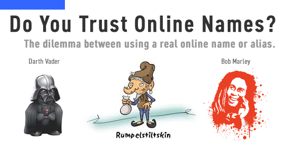 Image Saying Do You Trust Online Names.